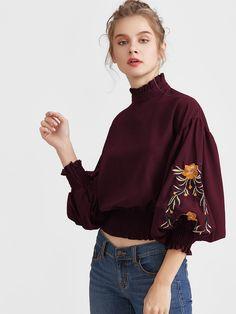 5637003a400c Shop Embroidery Lantern Sleeve Shirred Hem Blouse online. SheIn offers  Embroidery Lantern Sleeve Shirred Hem