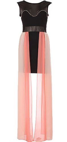 Fierce Angel Dress: Features a sheer black mesh bodice with bralette liner for perfect coverage, silver studs lining an illusion sweetheart neckline, thigh-length black pencil skirt surrounded by romantic floor-grazing pink chiffon fabric, and an edgy exposed rear zipper to finish.
