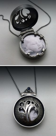 "Pendant | Ginger Meek Allen.    ""Anderson Locket"".  Sterling silver, photograph, mineral glass crystal, patina, sapphire."