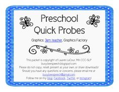These quick probes are perfect to quickly assess your preschoolers' understanding of language concepts. Use them for a quick measure of their progress toward meeting their goals, to gather baseline data, or however you'd like. Included in this pack are quick screeners for: 1. Functions 2. Categories 3. Basic concepts level 1 4. Basic concepts level 2 5. Associations 6. Prepositions. Repinned by SOS Inc. Resources pinterest.com/sostherapy/.