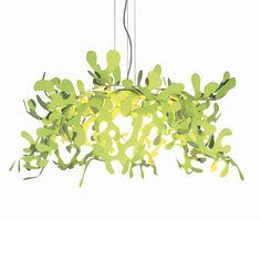 LEAVES moderne, florale Hängeleuchte. Italienische Designleuchte in buschiger, laubwaldartiger Form. Farbvarianten glänzend schwarz, weiß, grün, rot.