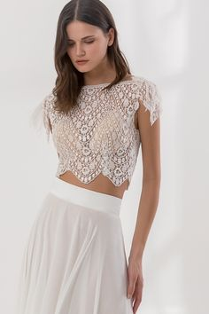 Off white crop top dress made with French lace, with a bateau neckline and a chiffon skirt, decorated with feathers on the sleeves Crop Top Dress, Chiffon Skirt, Bridal Wedding Dresses, French Lace, Dress Making, Bohemian Style, Ball Gowns, Vintage Fashion, Couture