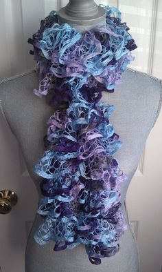 Spring Colored Hand Knitted Ruffle Scarf by shorethingdesigns