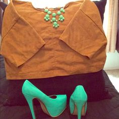 Forever 21 Tan Suede crop top Good condition with soft material! Look great when paired with high waist skirt, pants, or shorts! Can be worn to complete a classy or sexy look! Forever 21 Tops Crop Tops