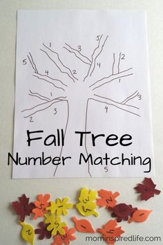 Number Recognition: Fall Tree Number Matching. This fall tree craft is so much fun to make! It works on number recognition and fine motor skills. Plus, you can practice letter recognition as well. It is perfect for your fall theme preschool week! #preschool #activities #number #recognition