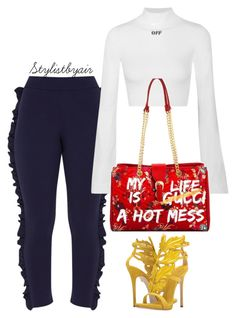 """""""Untitled #7408"""" by stylistbyair ❤ liked on Polyvore featuring Off-White and Giuseppe Zanotti"""