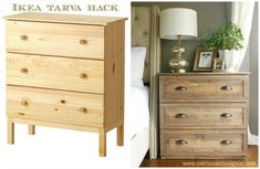 Ikea Hacks with a Pottery Barn Style - Diy Furniture Bedroom Diy Furniture Nightstand, Ikea Furniture Makeover, Ikea Tarva Dresser, Bedroom Furniture Makeover, Dresser As Nightstand, Diy Bedroom, Master Bedrooms, Furniture Dolly, Bedroom Kids