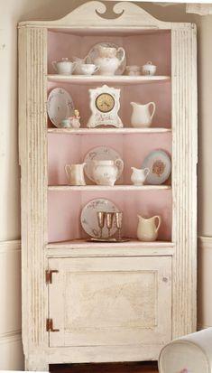 AWESOME Vintage Shabby Corner Cabinet-Pink Shabby Cabinet, Vintage furniture, Shabby Chic