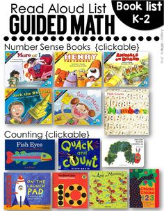 FREE comprehensive and clickable resource list for 101 guided math read aloud books. Math For Kids, Fun Math, Math Activities, Maths, Math Resources, Math Games, Math Tutor, School Resources, Math Classroom