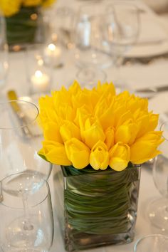 Bright yellow tulips and swirling bear grass centerpiece.