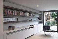 4 TV wall / horizontal lines / Barcelona chair /shelving Home Design Living Room, Living Room Storage, Living Room Tv, Home And Living, Contemporary Radiators, Contemporary Interior, Modern Interior Design, Interior Architecture, Modern Radiator Cover