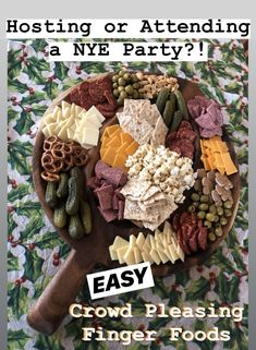 Easy recipes for your New Year's Eve party and more! DIY charcuterie that'll make you look like a pro, finger Foods, easy appetizers, snacks for dinner, game day meal ideas Nye Recipes, Holiday Recipes, Easy Recipes, Appetizer Display, Baguette Bread, Baby Tomatoes, Nye Party, Red Grapes, Good Food