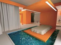 Unique Beds | ... orange bedroom decorating ideas with unique accent water below the bed