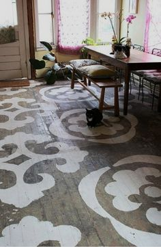 What a great way to bring new life to an old hardwood floor. It looks so cool !!
