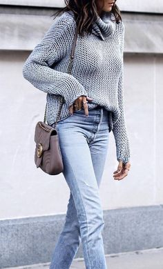 d657af15c4 awesome fall outfit   grey knit sweater + crossbody bag + boyfriend jeans