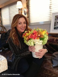 Sasha Alexander's photo: Back at it! Thank you ladies, these are gorg!!   Sasha says that the flowers are gorge, when the real gorgeous thing in the picture is her.