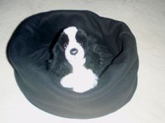Fleece Pet Bed Snuggle Sack Black   craftyforyou - Pets on ArtFire