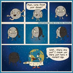 astronomy comics and parenting comics about getting your kid to eat their dinner
