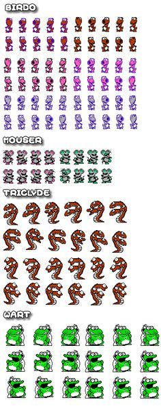 Sprites of the bosses from the #NES Classic #SuperMarioBros2 including #Birdo #Mouser #Tricylde and of course, #Wart. More SMB2 Sprites including items and scenery, the good guys, and the enemies @ http://www.superluigibros.com/super-mario-bros-2-sprites