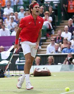 Roger Federer in his Olympic semi-final match vs Juan Martin Del Potro, August 2012.