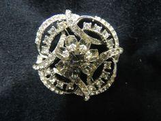 Vintage Rhinestone Brooch Pin Clear Diamond Snowflake Bride Wedding Silver Large
