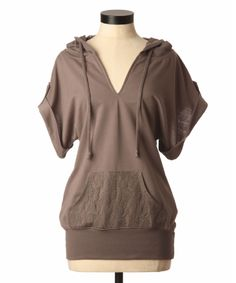 Kismet scarlette - over sized short sleeve lace pocket and hood sweater in brown, cream and black @Chris Munroe
