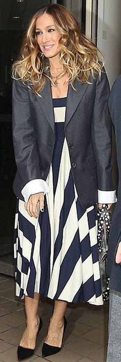 Dress – Nadia Tarr Shoes – Jean-Michel Cazabat Jacket – Maison Martin  Margiela Purse – Jerome Dreyfuss This was how SJP was dressed during her  appearance on ... 7c0443781fe