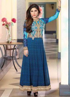 Blue Leheriya Print Georgette Embroidery Work Designer Anarkali Suit http://www.angelnx.com/Salwar-Kameez