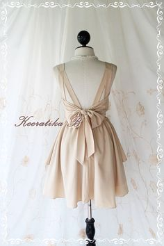 A Party Dress V Shape - Prom Party Cocktail Bridesmaid Dinner Wedding Night Backless Dress Beige/Nude Color