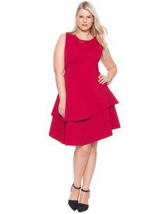 Studio Bonded Pique Dress Bouquet Red