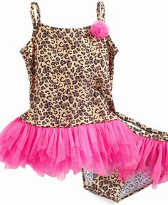 Flapdoodles Kids Swimsuit, Little Girls Leopard Two Piece Swimsuit - Kids Girls 2-6X - Macy's