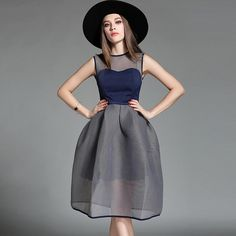 Fashion 2016 New Summer Ball Gown Dress Women's Elegant Slim Tulle Gray Dress Sleeveless Knee-length Girls Sundress Good Quality -- Check this awesome product by going to the link at the image.