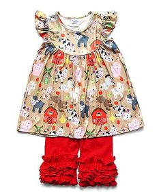 bc6b58978 Take a look at this Tan Farm Angel-Sleeve Top & Red Ruffle Leggings Set -  Toddler & Girls today! Tereza Maria · roupas infantil feminina