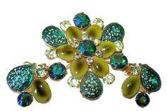CIJ Sale Designer Brooch Earring Set Signed Beau Jewels Aqua Peridot Givre & Cab Rhinestones Gold Metal Vintage