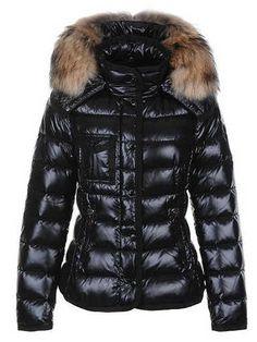 Discount Moncler Nylon Down Jacket Black Women Sale
