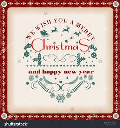 Christmas Vintage Greeting Card With Holidays Lettering Typography Old Style Poster Stock Vector Illustration 331108955 : Shutterstock