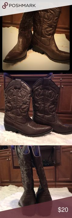 Brown cowgirl boots Classic style super cute cowgirl boots! Barely worn. Great for line dancing! Theme parties! Stagecoach or anything country! Mossimo Supply Co. Shoes Heeled Boots