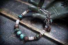 tribal bracelet • Turquoise and shell heishi bead • copper • berber • ethnic jewelry • boho • adjustable bracelet • raw • nature • entre2et7 by entre2et7 on Etsy