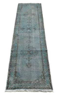 133 x 34 Inches Overdyed  Rug Runner  Gray Tones by VintageCarpets, $439.00