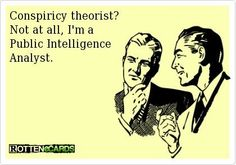 Conspiracy theorist? Not at all, I'm a Public Intelligence Analyst. #Think