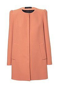 Zara Gathered Shoulder Coral Coat