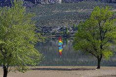 Sailing a mirror. April afternoon sailing Osoyoos Lake.