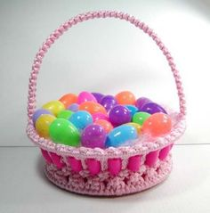 Skip the Dollar Store, and Macrame your own Easter Basket.