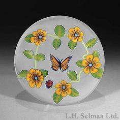 """Jesse Taj Glass """"Butterfly and Garland of Flowers"""" paperweight"""