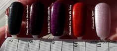 """OPI Gelcolor SOG swatches - """"Nein! Nein! Nein! Ok Fine!"""", """"Every Month is Oktoberfest"""", """"Suzi & the 7 Düsseldorfs"""", """"Deutsch You Want Me Baby"""", and """"Princesses Rule!"""".  Two coats of each color, in natural lighting (through a window on an iffy-day)."""