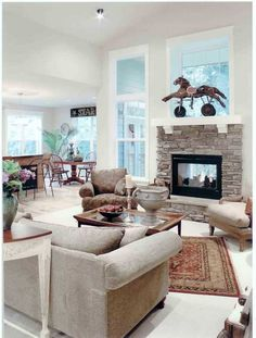 Two sided fireplace (indoor/outdoor).would also love if it were between my master bedroom/master bathroom Fireplace Windows, Outside Fireplace, Double Sided Fireplace, Living Room With Fireplace, Fireplace Design, Home Living Room, Cabin Fireplace, Fireplace Update, Fireplace Mantles