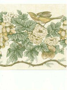 Van Luit Grape Vines & Birds Victorian Floral Wallpaper Border #VanLuit