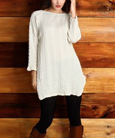 Winter White Cable-Knit Pointed Hem Tunic - Plus