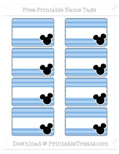 Free Pastel Blue Horizontal Striped  Mickey Mouse Name Tags