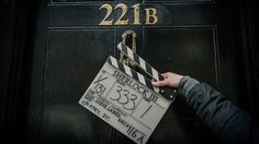 #setlock BBC is giving out the 'spoilers' this time! lol {Outside 221B - Ready for a full day of filming in 'Baker Street'.}